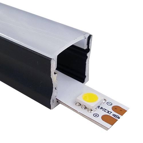 Perfil aluminio superfície estándar negro